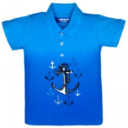 """11-37714 """"ЯКОРЬ"""" Рубашка-поло, 3-7 лет, пике, синий\голубой"""