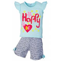 """5852-65 """"Be Happy"""" комплект для девочек, 5-8 лет, голубой"""