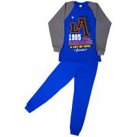 11-9128101 Пижама для мальчика, интерлок, 9-12 лет, синий\серый