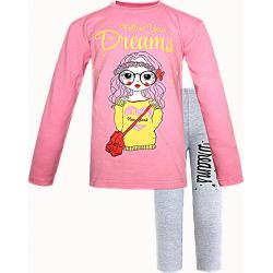 91282-01 Пижама для девочек, интерлок, 9-12 лет, розовый\серый
